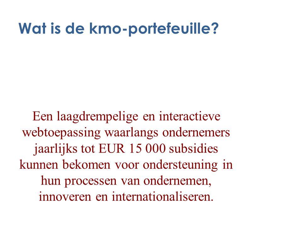 Wat is de kmo-portefeuille? Een laagdrempelige en interactieve webtoepassing waarlangs ondernemers jaarlijks tot EUR 15 000 subsidies kunnen bekomen v