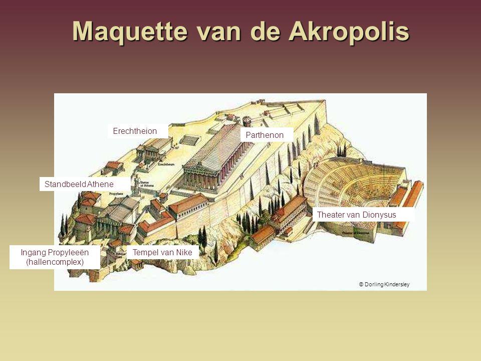 Maquette van de Akropolis © Dorling Kindersley Tempel van Nike Theater van Dionysus Erechtheion Parthenon Standbeeld Athene Ingang Propyleeën (hallenc