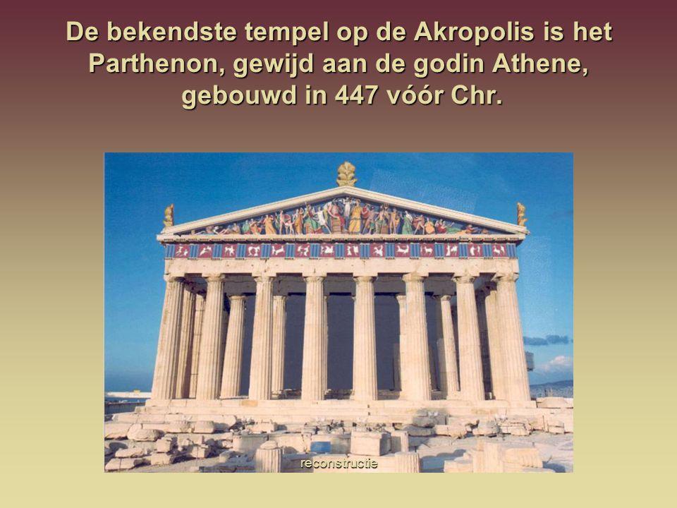 De bekendste tempel op de Akropolis is het Parthenon, gewijd aan de godin Athene, gebouwd in 447 vóór Chr. reconstructie