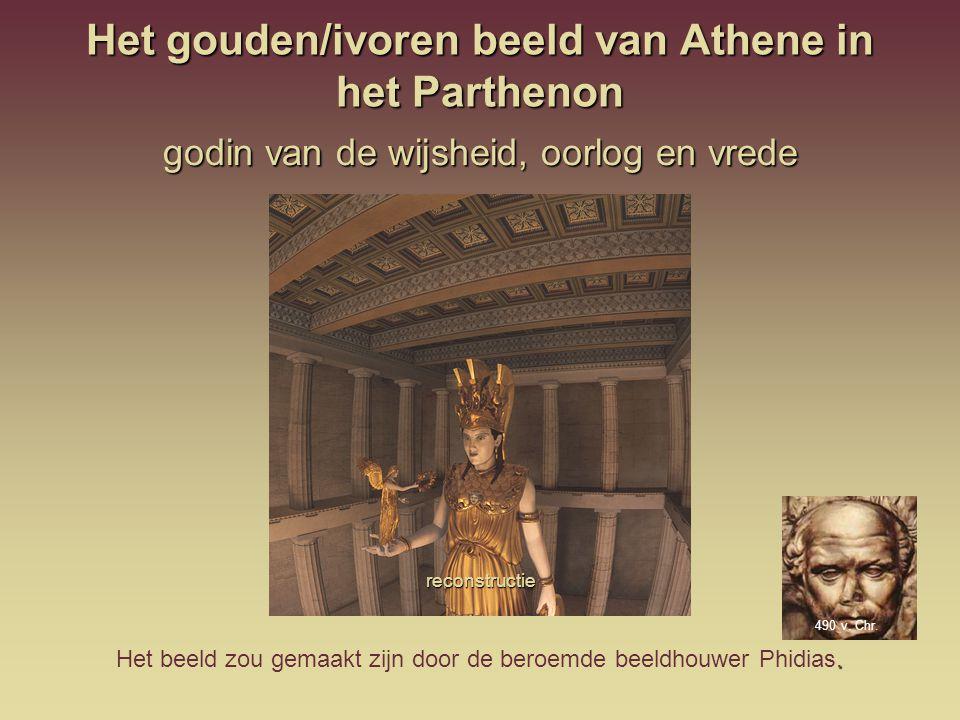 Het gouden/ivoren beeld van Athene in het Parthenon godin van de wijsheid, oorlog en vrede reconstructie. Het beeld zou gemaakt zijn door de beroemde
