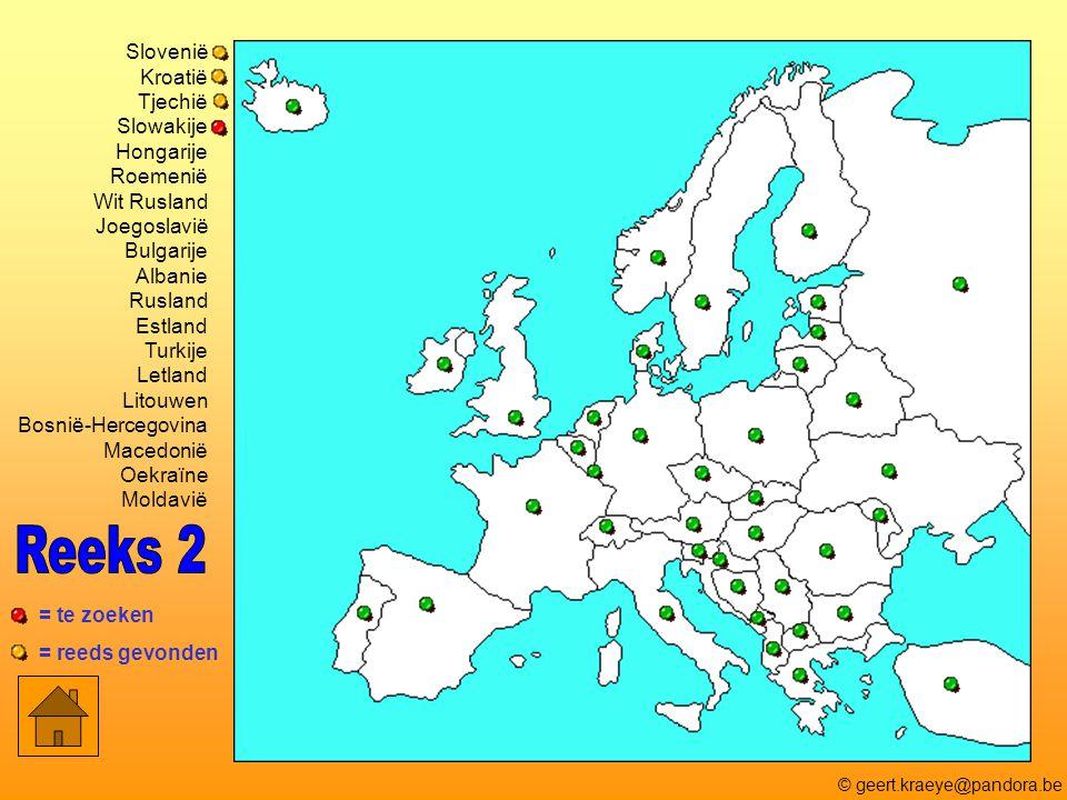 Slovenië Kroatië Tjechië Slowakije Hongarije Roemenië Wit Rusland Joegoslavië Bulgarije Albanie Rusland Estland Turkije Letland Litouwen Bosnië-Herceg