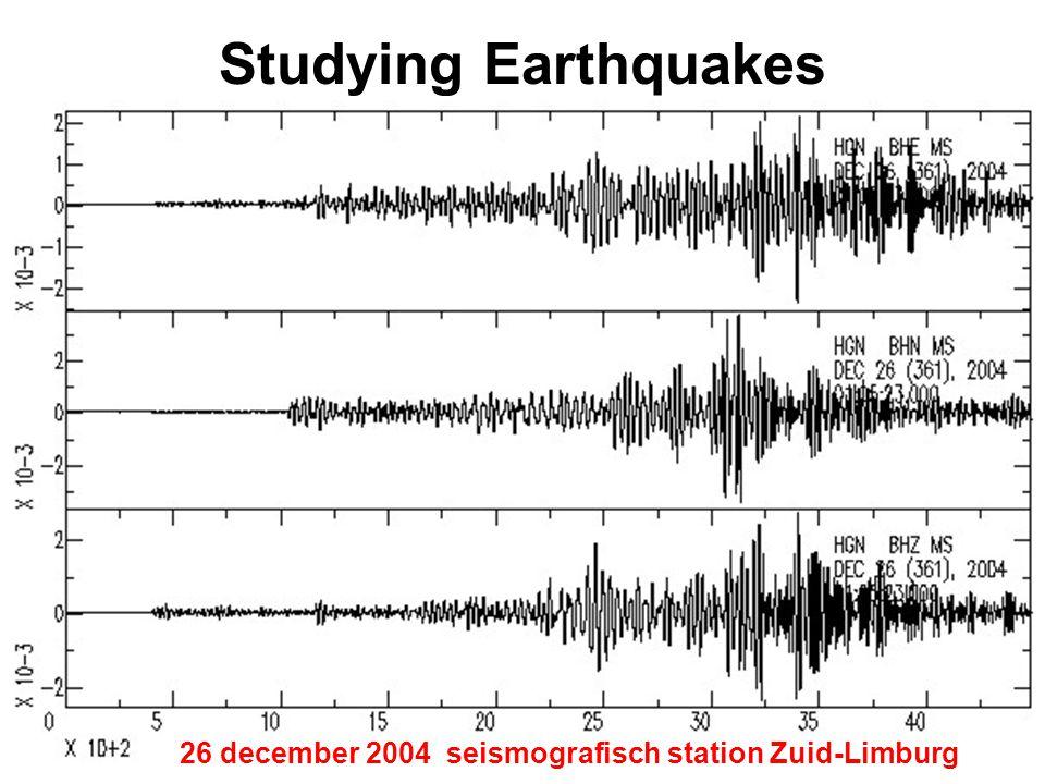Studying Earthquakes 1 seismograaf – seismogram 2 seismische golven 26 december 2004 seismografisch station Zuid-Limburg
