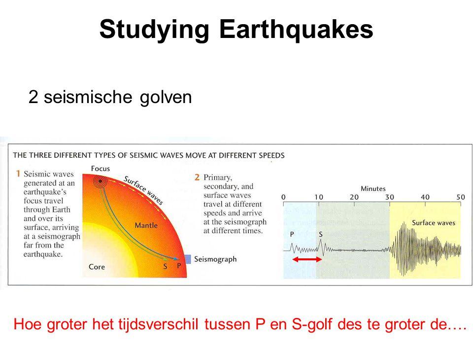 Studying Earthquakes 2 seismische golven Hoe groter het tijdsverschil tussen P en S-golf des te groter de….
