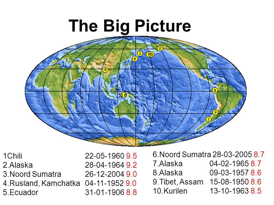 The Big Picture 1Chili22-05-1960 9.5 2.Alaska28-04-1964 9.2 3.Noord Sumatra26-12-2004 9.0 4.Rusland, Kamchatka04-11-1952 9.0 5.Ecuador31-01-1906 8.8 6