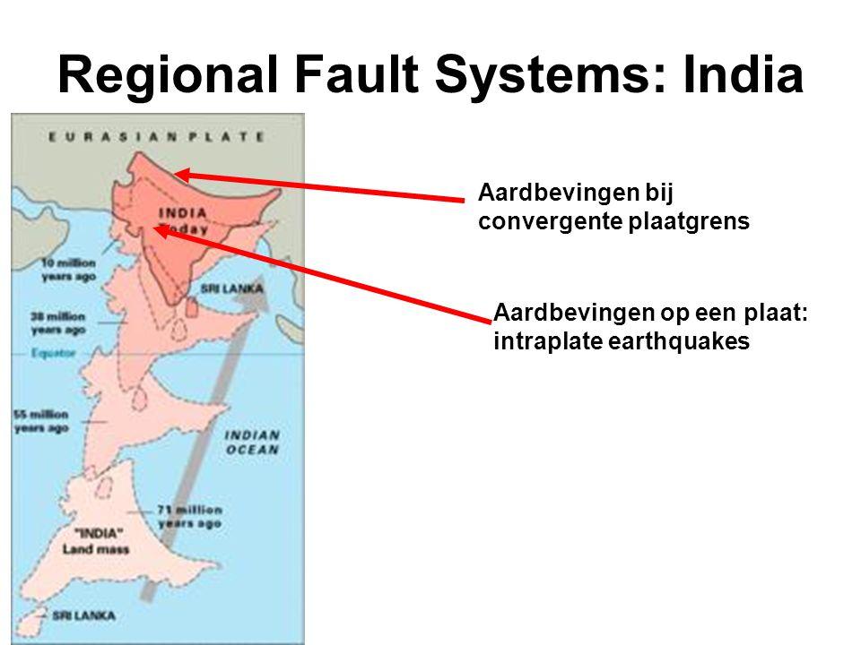 Regional Fault Systems: India Aardbevingen bij convergente plaatgrens Aardbevingen op een plaat: intraplate earthquakes
