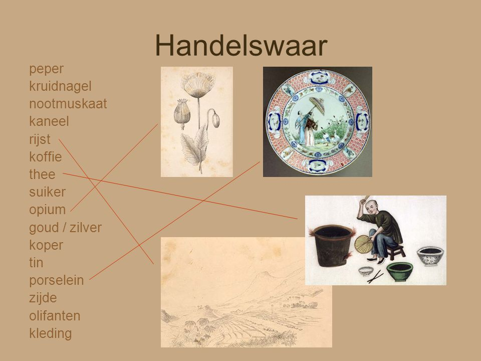 Handelswaar peper kruidnagel nootmuskaat kaneel rijst koffie thee suiker opium goud / zilver koper tin porselein zijde olifanten kleding