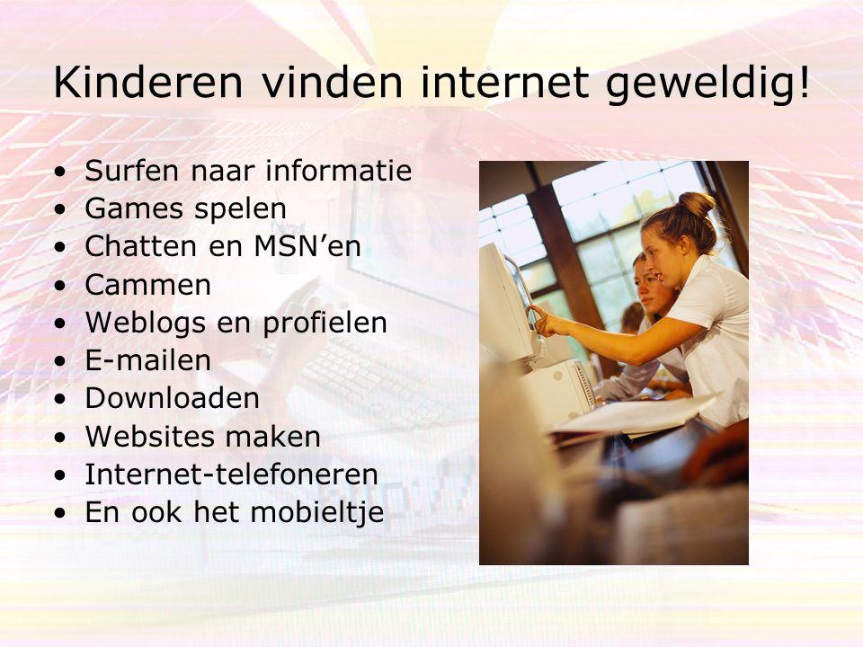 Kinderen vinden internet geweldig! Surfen naar informatie Games spelen Chatten en MSN'en Cammen Weblogs en profielen E-mailen Downloaden Websites make