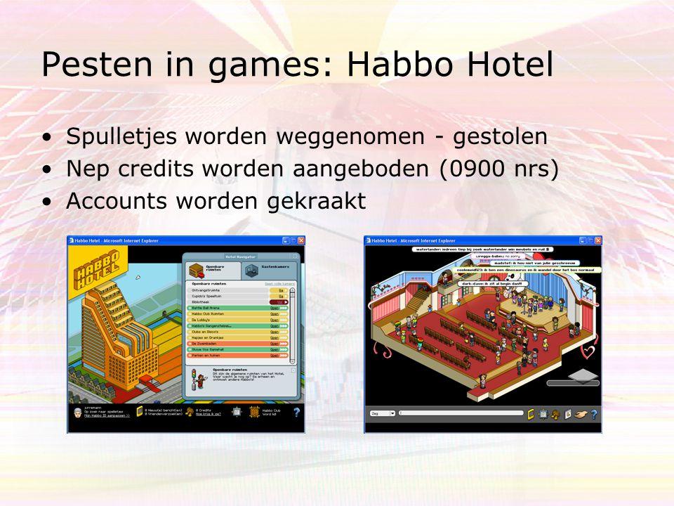 Pesten in games: Habbo Hotel Spulletjes worden weggenomen - gestolen Nep credits worden aangeboden (0900 nrs) Accounts worden gekraakt