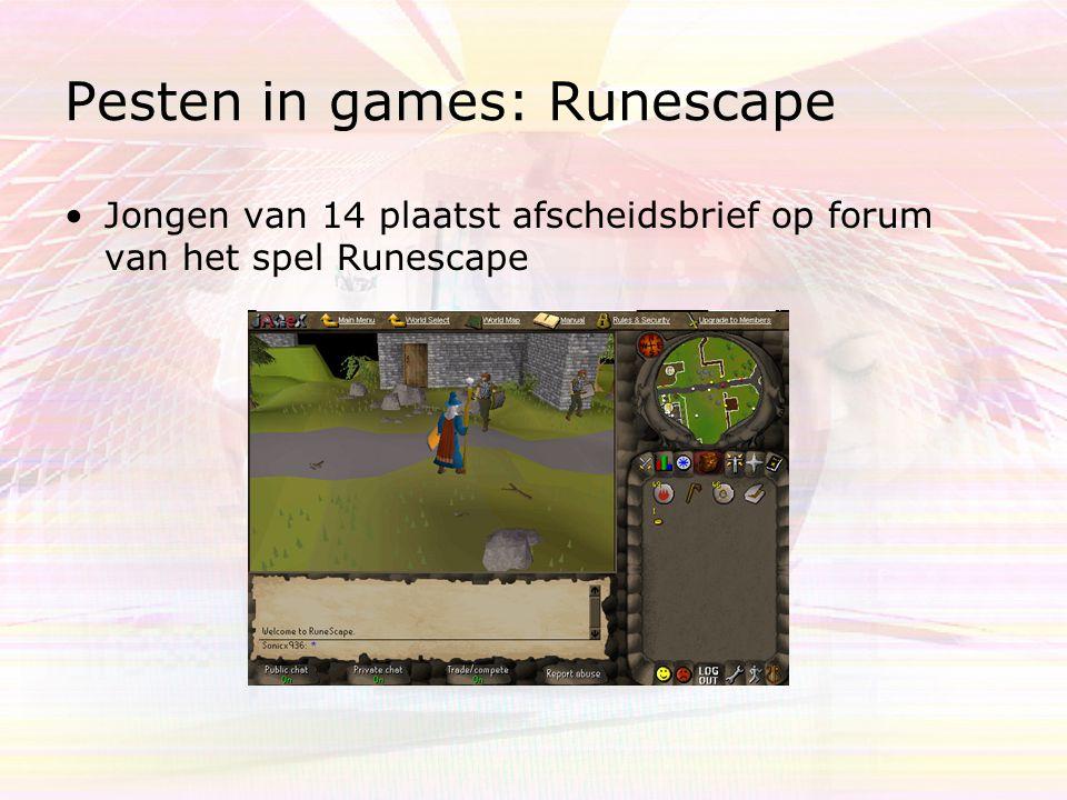 Pesten in games: Runescape Jongen van 14 plaatst afscheidsbrief op forum van het spel Runescape