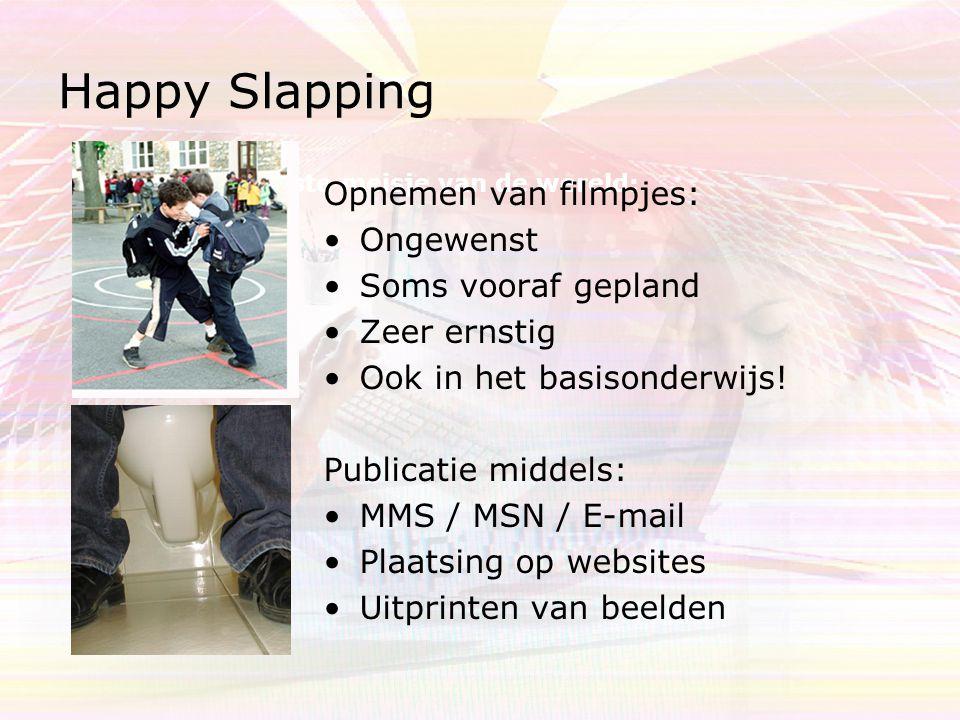Happy Slapping Verkiezing lelijkste meisje van de wereld: Opnemen van filmpjes: Ongewenst Soms vooraf gepland Zeer ernstig Ook in het basisonderwijs!