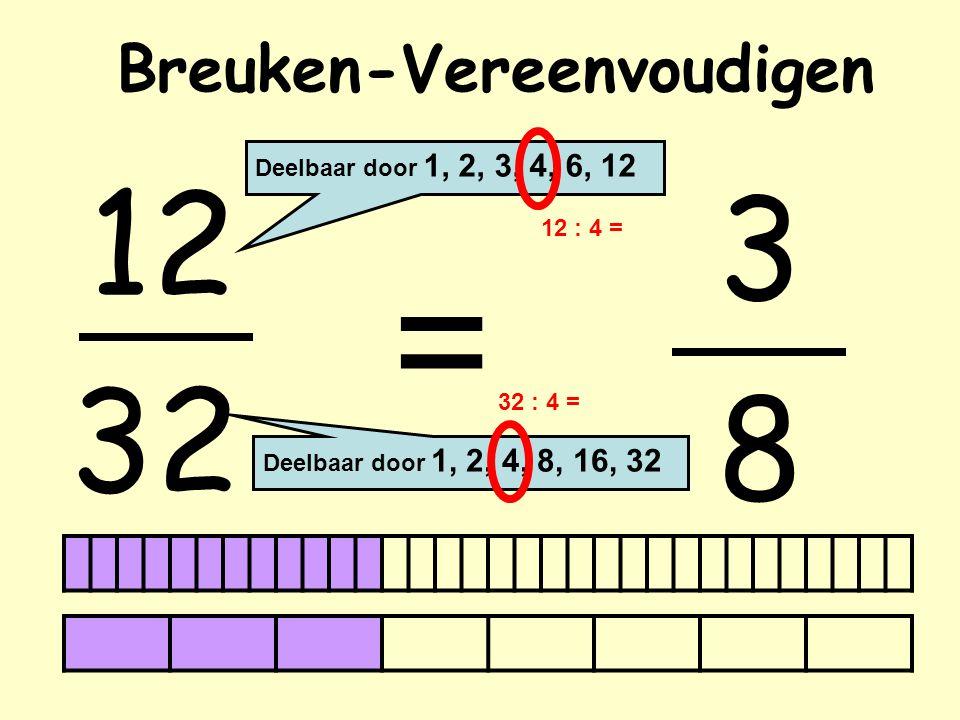 Breuken-Vereenvoudigen 12 32 = Deelbaar door 1, 2, 3, 4, 6, 12 Deelbaar door 1, 2, 4, 8, 16, 32 3 12 : 4 = 32 : 4 = 8