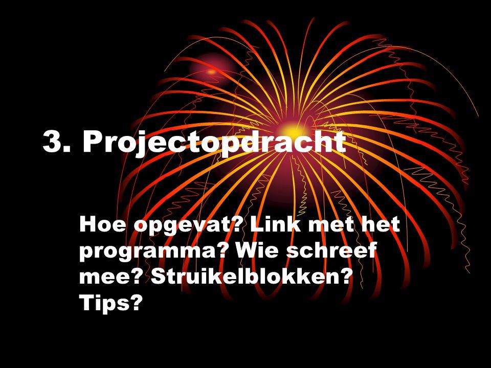 3. Projectopdracht Hoe opgevat? Link met het programma? Wie schreef mee? Struikelblokken? Tips?