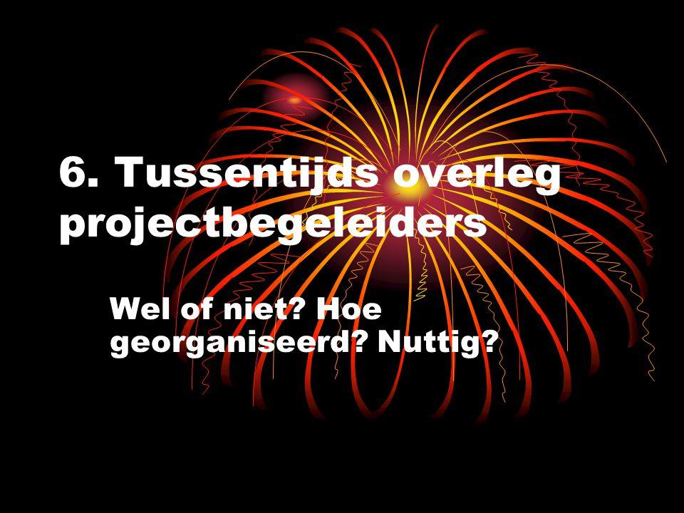 6. Tussentijds overleg projectbegeleiders Wel of niet? Hoe georganiseerd? Nuttig?