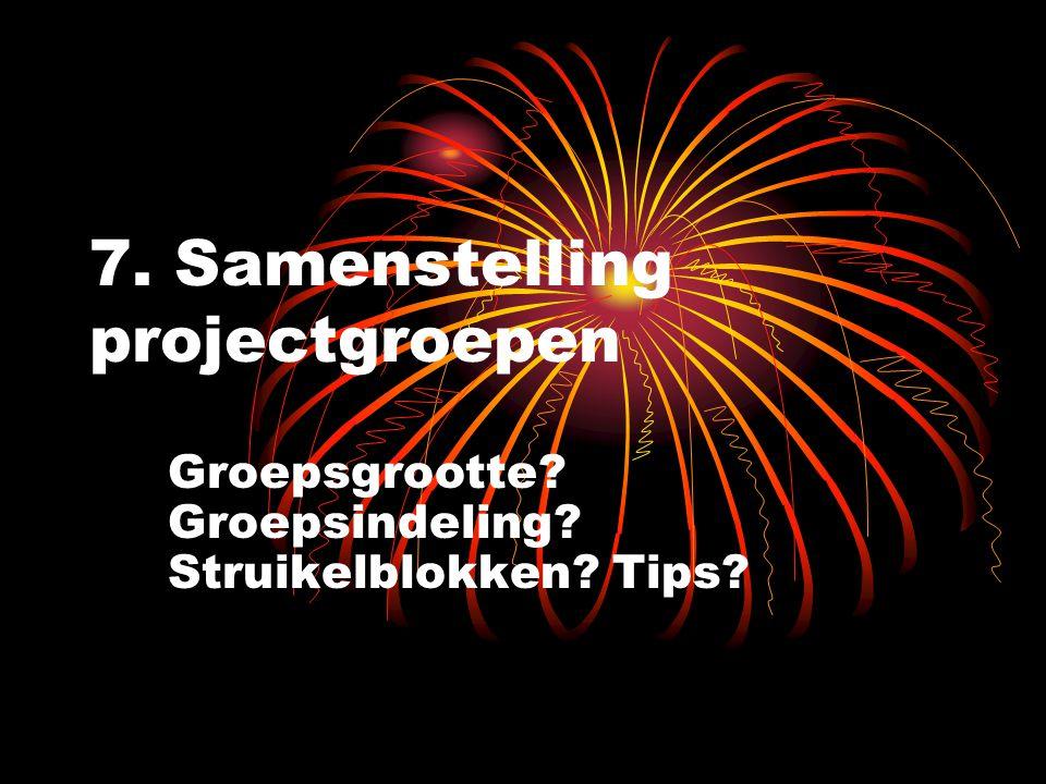 7. Samenstelling projectgroepen Groepsgrootte Groepsindeling Struikelblokken Tips
