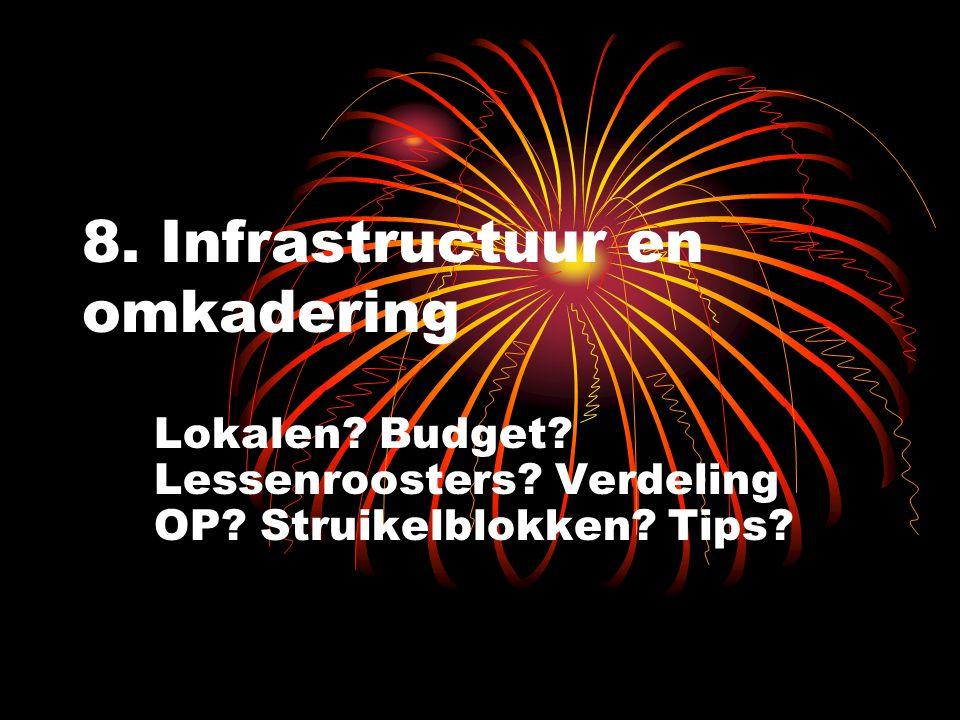 8. Infrastructuur en omkadering Lokalen. Budget.