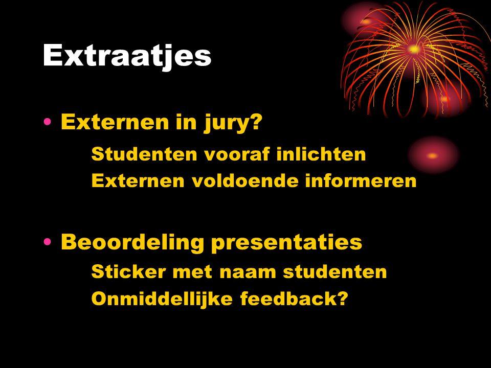 Extraatjes Externen in jury.