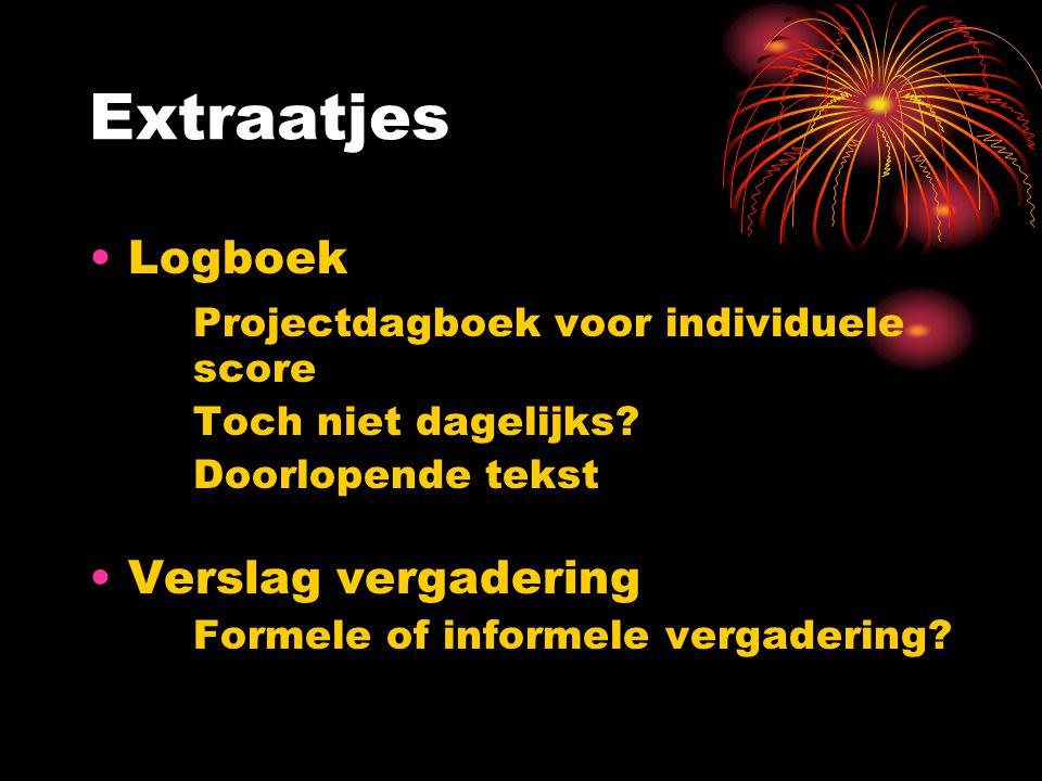 Extraatjes Logboek Projectdagboek voor individuele score Toch niet dagelijks.