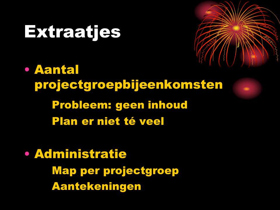 Extraatjes Aantal projectgroepbijeenkomsten Probleem: geen inhoud Plan er niet té veel Administratie Map per projectgroep Aantekeningen