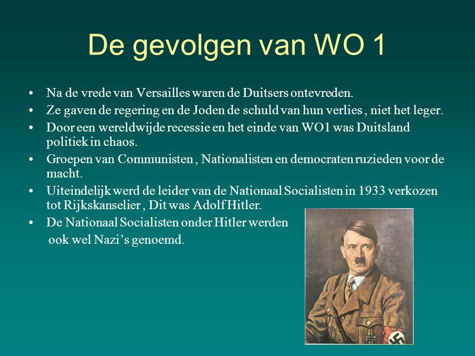De gevolgen van WO 1 Na de vrede van Versailles waren de Duitsers ontevreden.