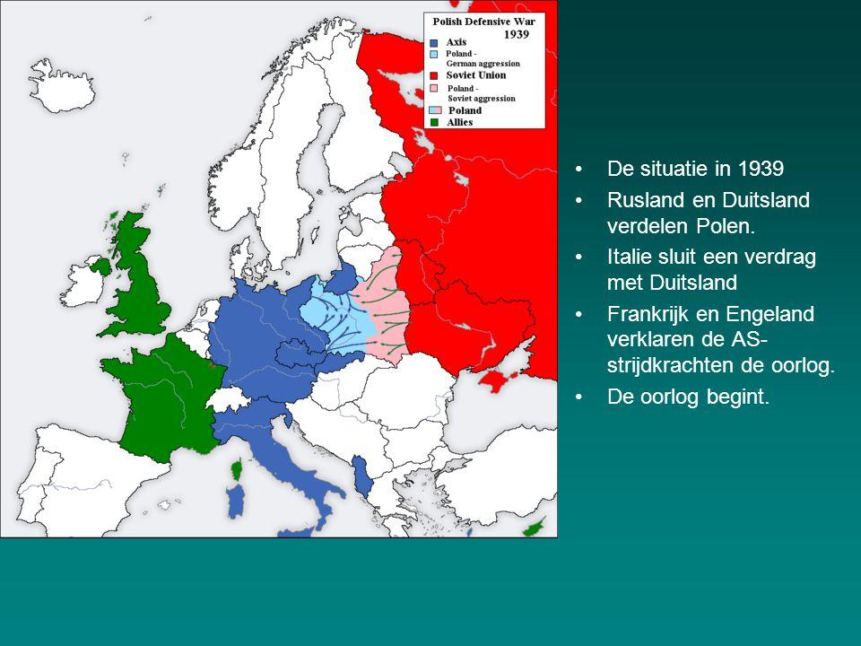 De situatie in 1939 Rusland en Duitsland verdelen Polen.