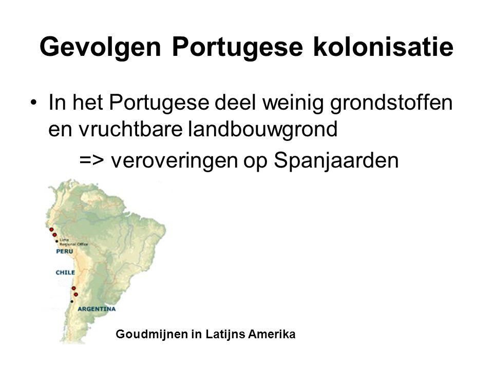 Gevolgen Portugese kolonisatie In het Portugese deel weinig grondstoffen en vruchtbare landbouwgrond => veroveringen op Spanjaarden Goudmijnen in Lati