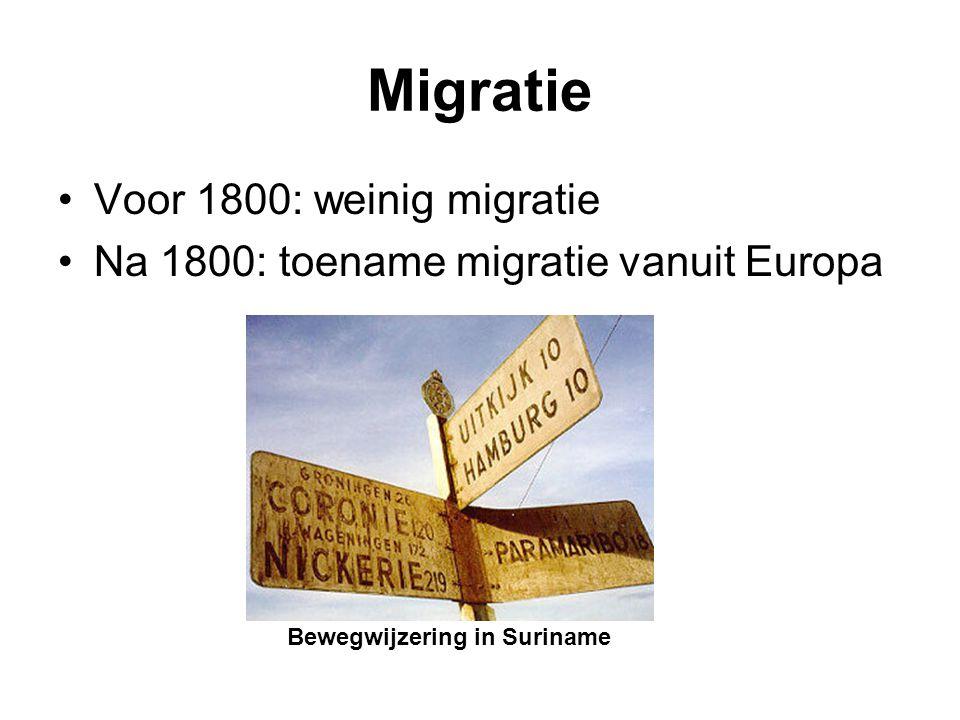 Migratie Voor 1800: weinig migratie Na 1800: toename migratie vanuit Europa Bewegwijzering in Suriname