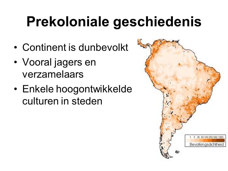 Prekoloniale geschiedenis Continent is dunbevolkt Vooral jagers en verzamelaars Enkele hoogontwikkelde culturen in steden Bevolkingsdichtheid