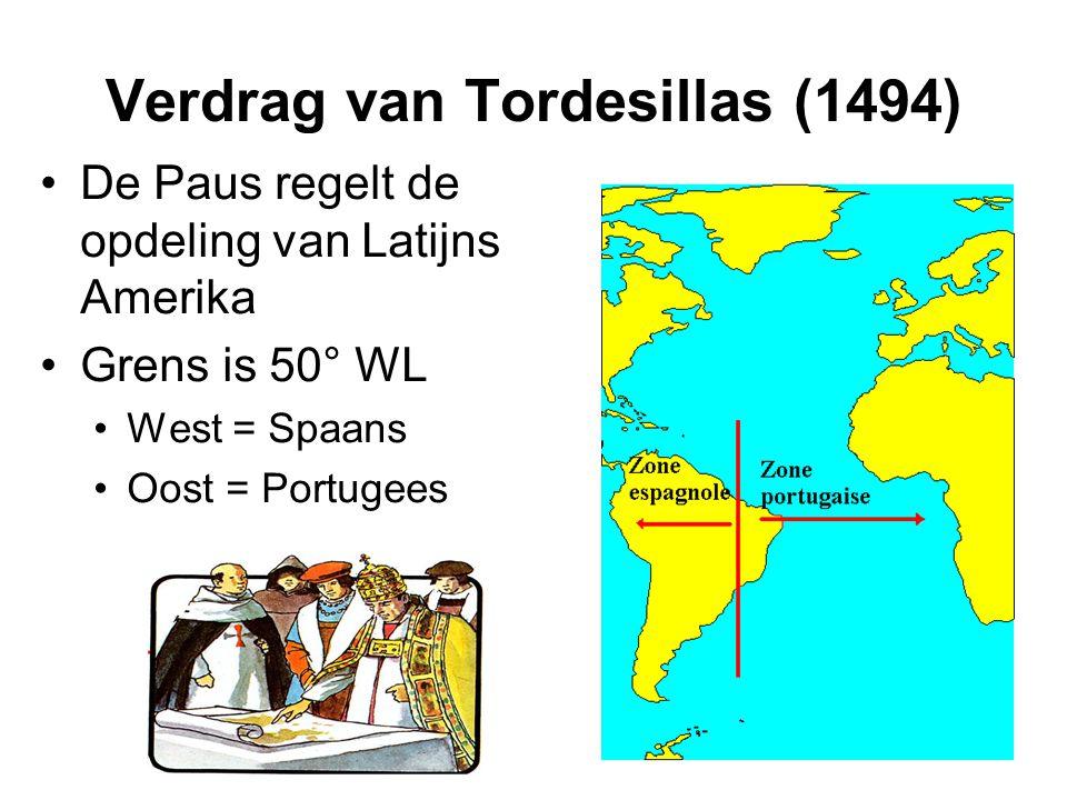 Verdrag van Tordesillas (1494) De Paus regelt de opdeling van Latijns Amerika Grens is 50° WL West = Spaans Oost = Portugees