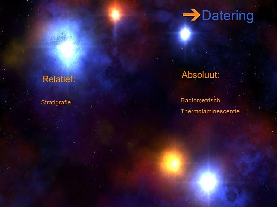 Datering Relatief: Absoluut: Stratigrafie Radiometrisch Thermolaminescentie