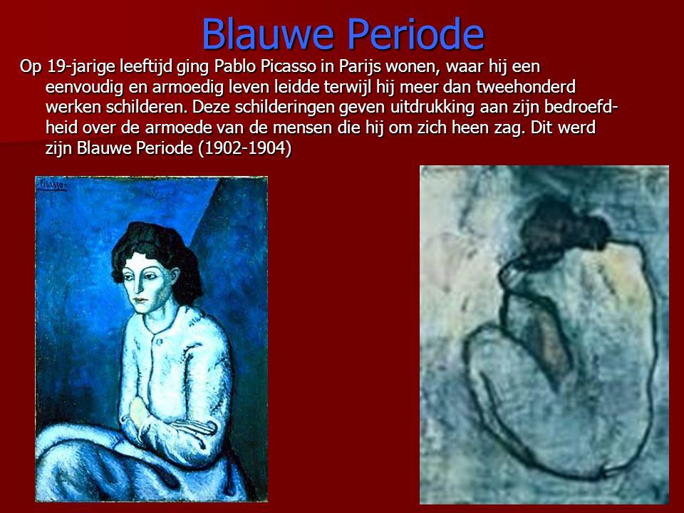 Blauwe Periode Op 19-jarige leeftijd ging Pablo Picasso in Parijs wonen, waar hij een eenvoudig en armoedig leven leidde terwijl hij meer dan tweehond
