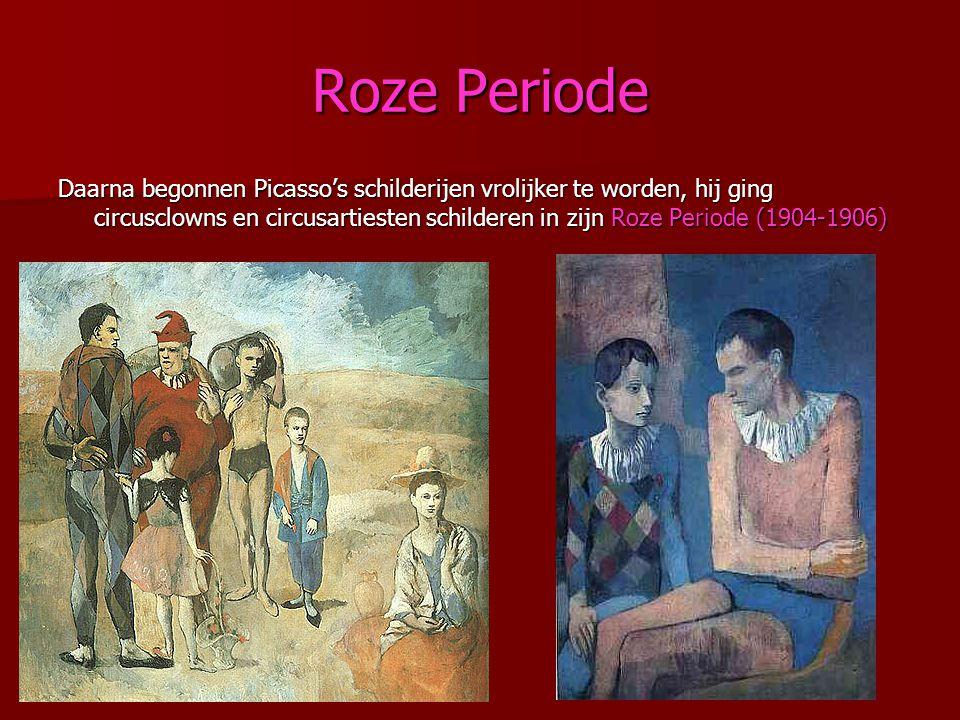 Roze Periode Daarna begonnen Picasso's schilderijen vrolijker te worden, hij ging circusclowns en circusartiesten schilderen in zijn Roze Periode (190