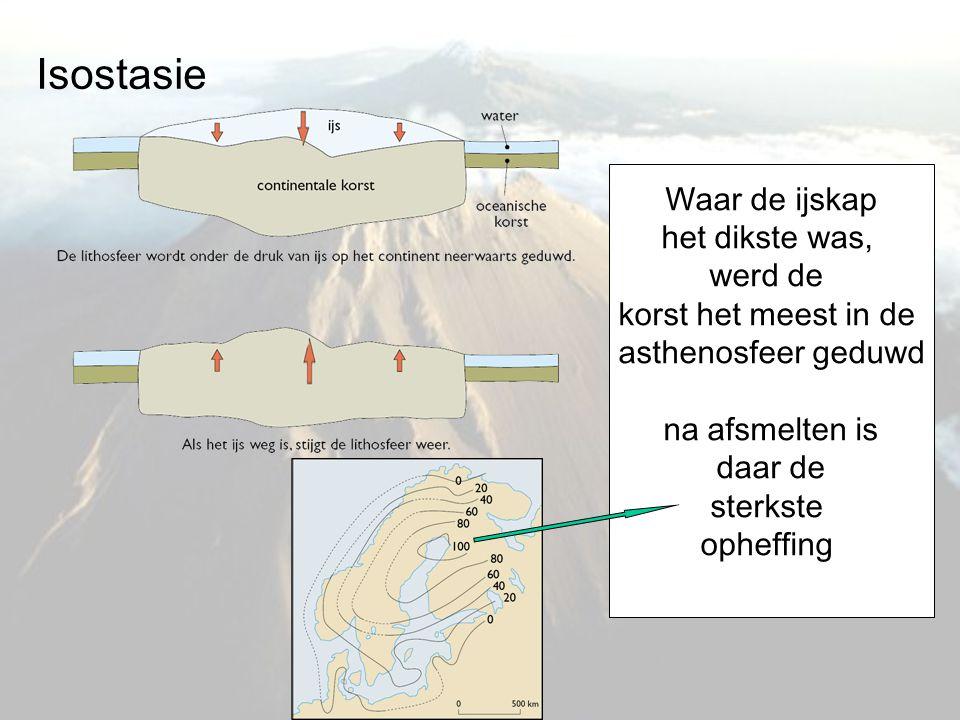 Isostasie Waar de ijskap het dikste was, werd de korst het meest in de asthenosfeer geduwd na afsmelten is daar de sterkste opheffing