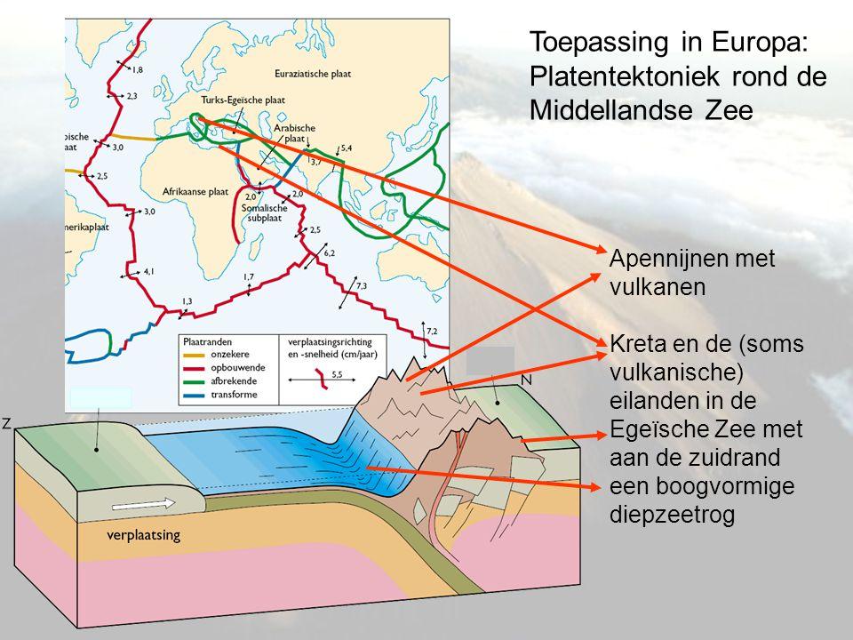 Toepassing in Europa: Platentektoniek rond de Middellandse Zee Apennijnen met vulkanen Kreta en de (soms vulkanische) eilanden in de Egeïsche Zee met