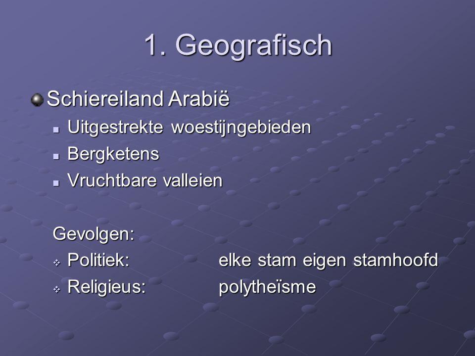 1. Geografisch Schiereiland Arabië Uitgestrekte woestijngebieden Uitgestrekte woestijngebieden Bergketens Bergketens Vruchtbare valleien Vruchtbare va