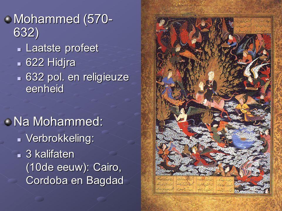 Mohammed (570- 632) Laatste profeet 622 Hidjra 632 pol. en religieuze eenheid Na Mohammed: Verbrokkeling: Verbrokkeling: 3 kalifaten (10de eeuw): Cair