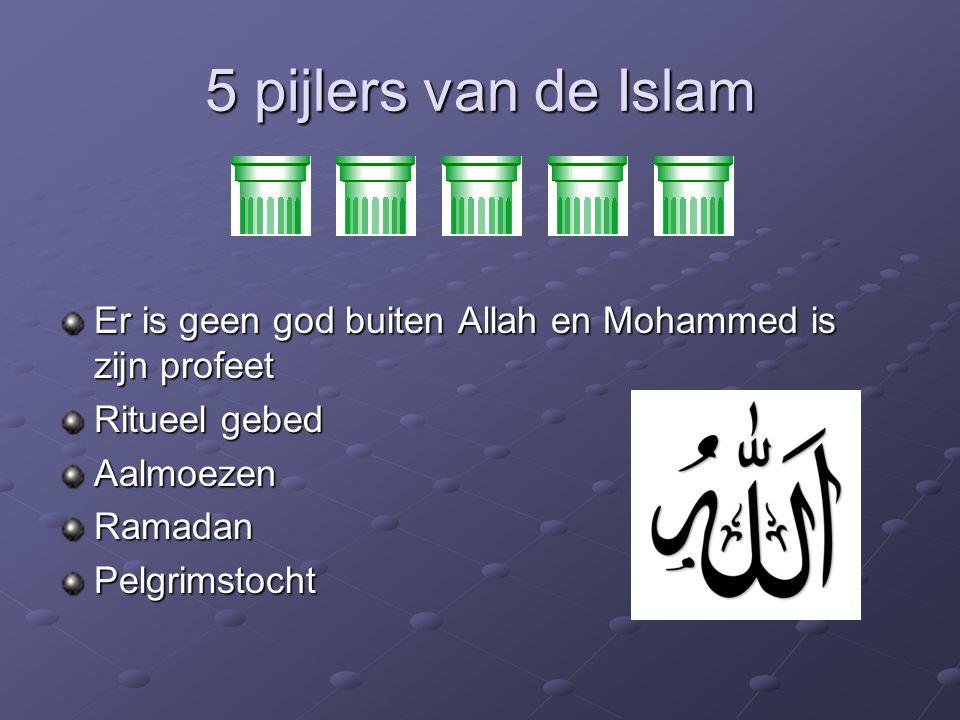5 pijlers van de Islam Er is geen god buiten Allah en Mohammed is zijn profeet Ritueel gebed Aalmoezen Ramadan Pelgrimstocht