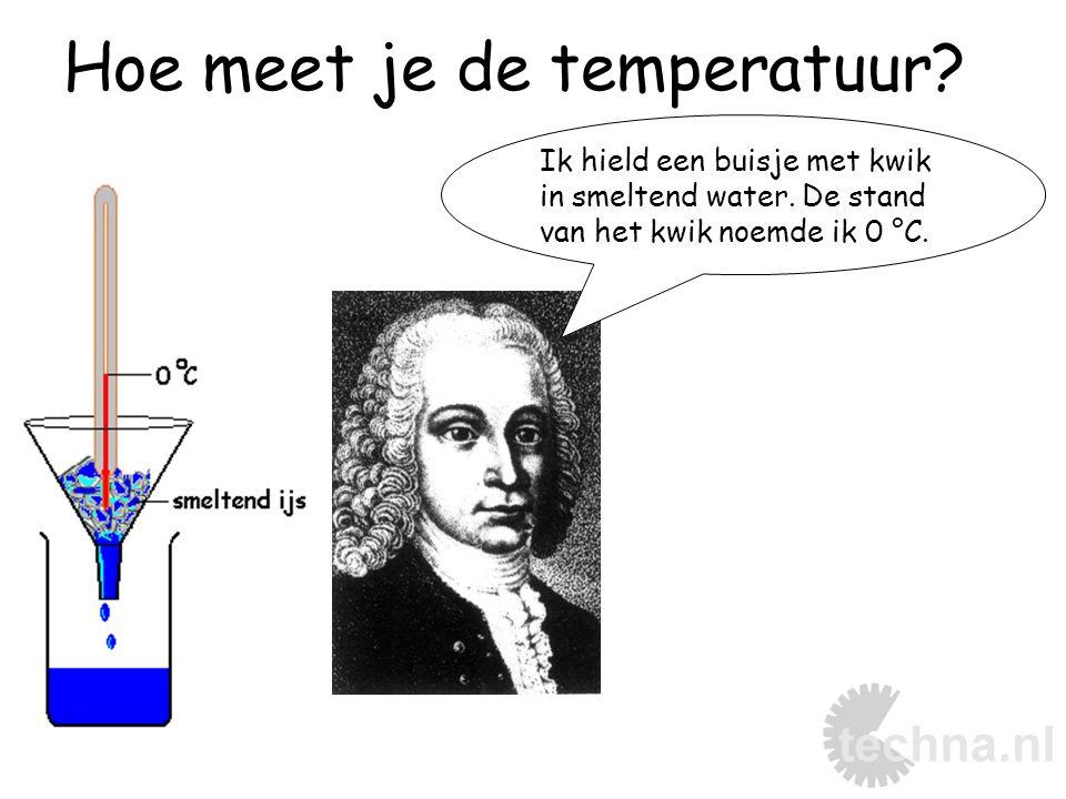Hoe meet je de temperatuur.Ik hield een buisje met kwik in smeltend water.