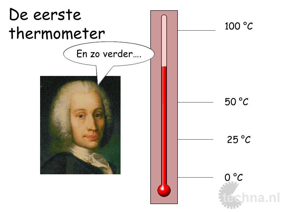 De eerste thermometer 0 °C 25 °C 50 °C 100 °C Smeltend ijsKokend water En zo verder….