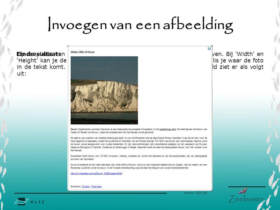 V L I Z www.vliz.be Zeelessen Invoegen van een afbeelding Op de plaats van de Y'en kan je een gepaste titel voor de foto schrijven.
