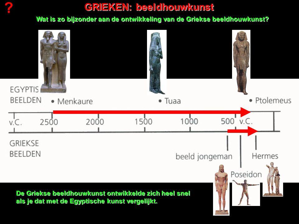 GRIEKEN: beeldhouwkunst Wat is zo bijzonder aan de ontwikkeling van de Griekse beeldhouwkunst? De Griekse beeldhouwkunst ontwikkelde zich heel snel al
