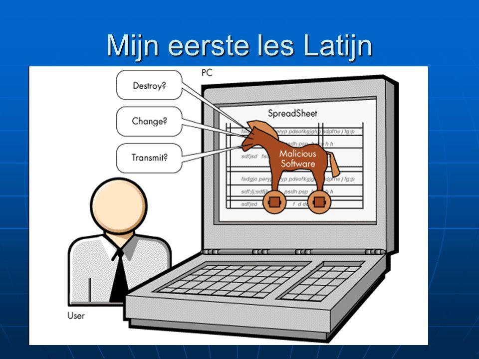 Mijn eerste les Latijn Heel wat Nederlandse woorden hebben een Griekse en Latijnse oorsprong: Heel wat Nederlandse woorden hebben een Griekse en Latijnse oorsprong: Televisie: τηλε (= ver) videre (= zien) Computer: computare (=tellen) Museum: