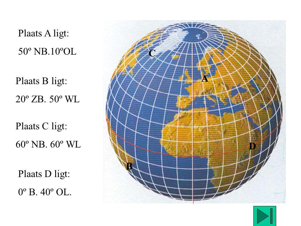 A B C D Plaats A ligt: 50º NB.10ºOL Plaats B ligt: 20º ZB. 50º WL Plaats C ligt: 60º NB. 60º WL Plaats D ligt: 0º B. 40º OL. D B A
