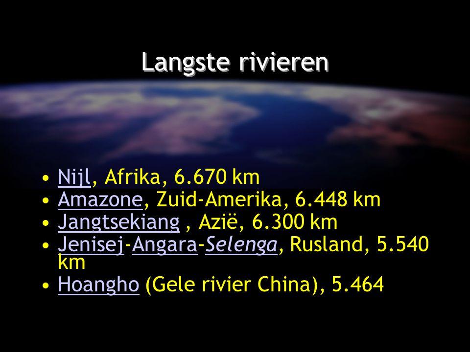Langste rivieren Nijl, Afrika, 6.670 kmNijl Amazone, Zuid-Amerika, 6.448 kmAmazone Jangtsekiang, Azië, 6.300 kmJangtsekiang Jenisej-Angara-Selenga, Ru
