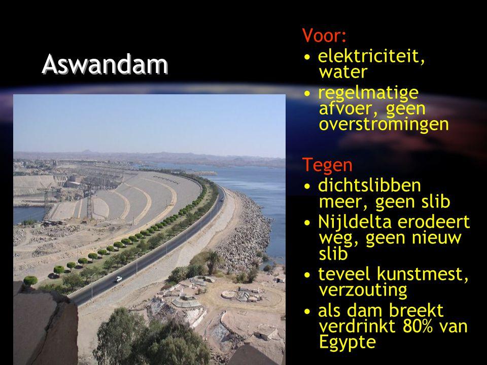 Aswandam Voor: elektriciteit, water regelmatige afvoer, geen overstromingen Tegen dichtslibben meer, geen slib Nijldelta erodeert weg, geen nieuw slib teveel kunstmest, verzouting als dam breekt verdrinkt 80% van Egypte