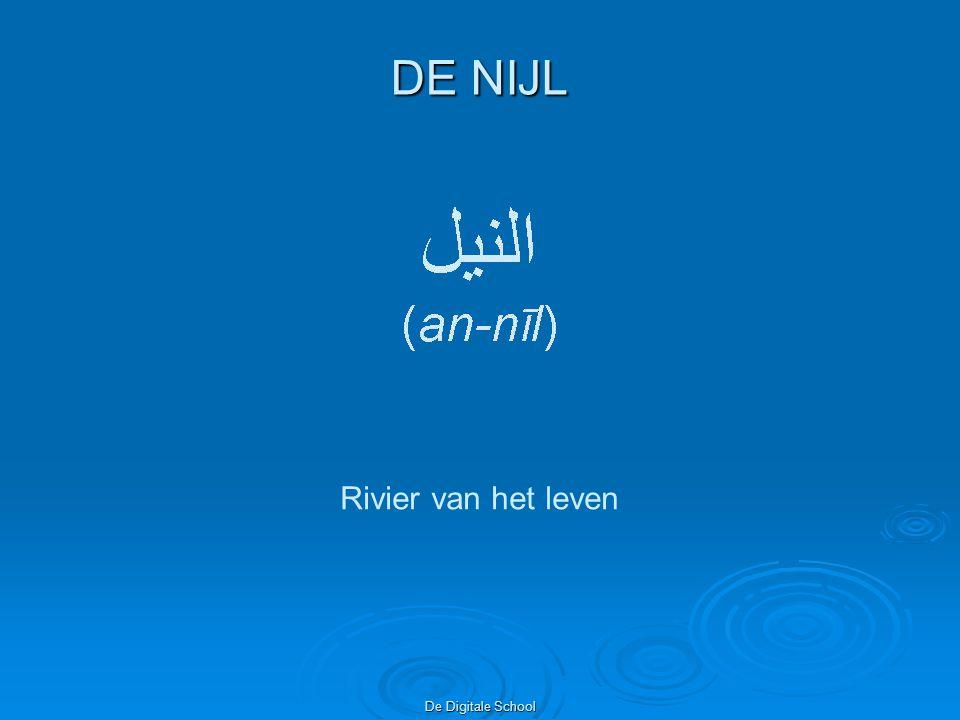 De Digitale School Na Kaïro vormt de Nijl een delta en mondt uit in de Middellandse zee na een reis van 6650 km Rechts mondt de Nijl bij Rosetta uit in de Middellandse zee.