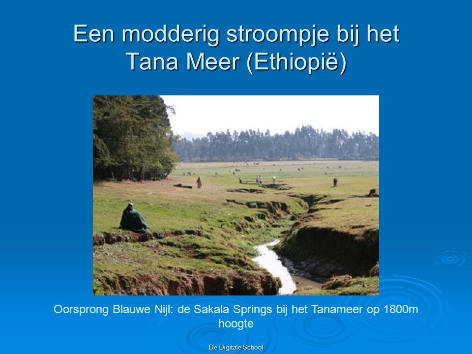 De Digitale School Een modderig stroompje bij het Tana Meer (Ethiopië) Oorsprong Blauwe Nijl: de Sakala Springs bij het Tanameer op 1800m hoogte