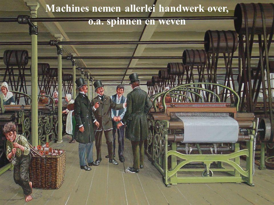 Machines nemen allerlei handwerk over, o.a. spinnen en weven