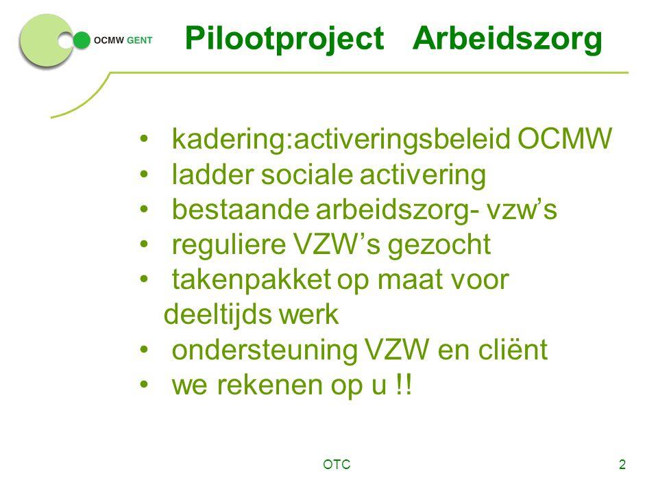 OTC2 Pilootproject Arbeidszorg kadering:activeringsbeleid OCMW ladder sociale activering bestaande arbeidszorg- vzw's reguliere VZW's gezocht takenpakket op maat voor deeltijds werk ondersteuning VZW en cliënt we rekenen op u !!