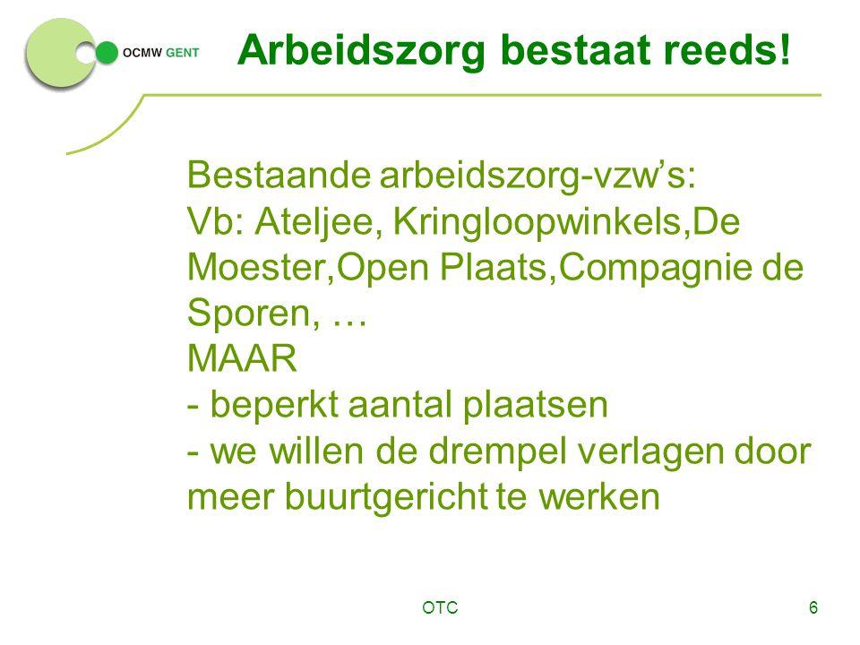 OTC6 Arbeidszorg bestaat reeds! Bestaande arbeidszorg-vzw's: Vb: Ateljee, Kringloopwinkels,De Moester,Open Plaats,Compagnie de Sporen, … MAAR - beperk