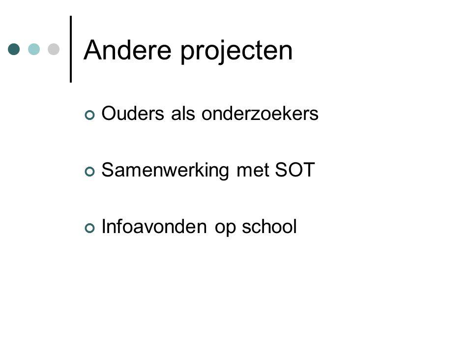 Andere projecten Ouders als onderzoekers Samenwerking met SOT Infoavonden op school